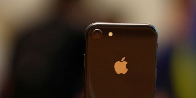 An iPhone 8 is displayed at the Apple Orchard Shop in Singapore Sept. 22,