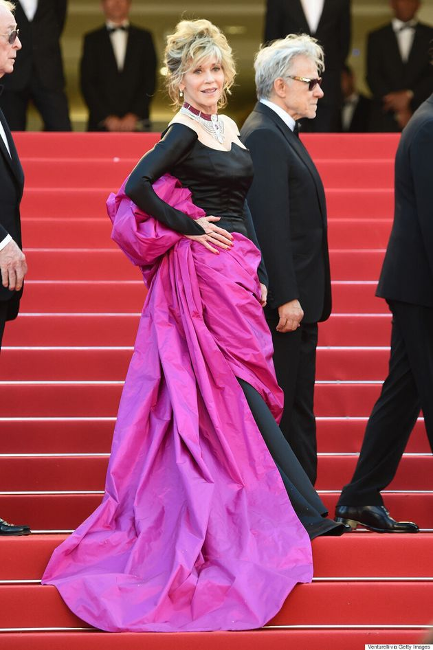 Jane Fonda Rocks Black And Pink Gown Like A Queen At 2015 Cannes Film
