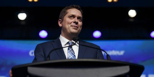 Andrew Scheer smiles after being named the Conservative Party's leader in Toronto on May 27,