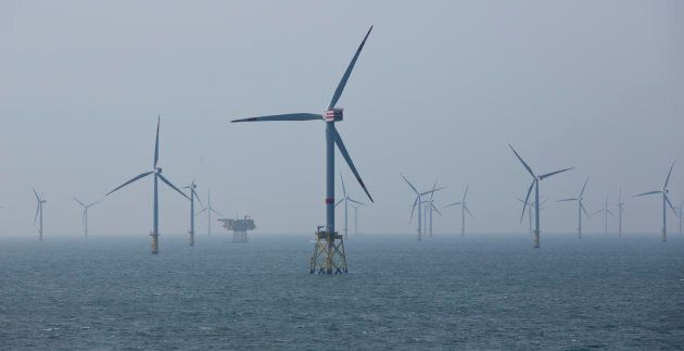 Wind turbines are pictured in the north sea near Helgoland, Germany in