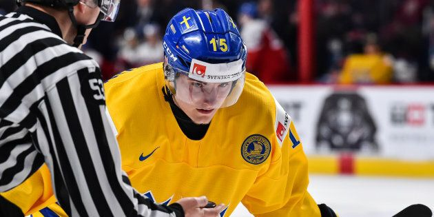 Sweden's Lias Andersson, seen at the 2017 IIHF World Junior Championship in Montreal, tossed his silver...