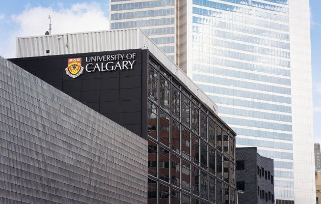 A University of Calgary sign on one of their buildings in central