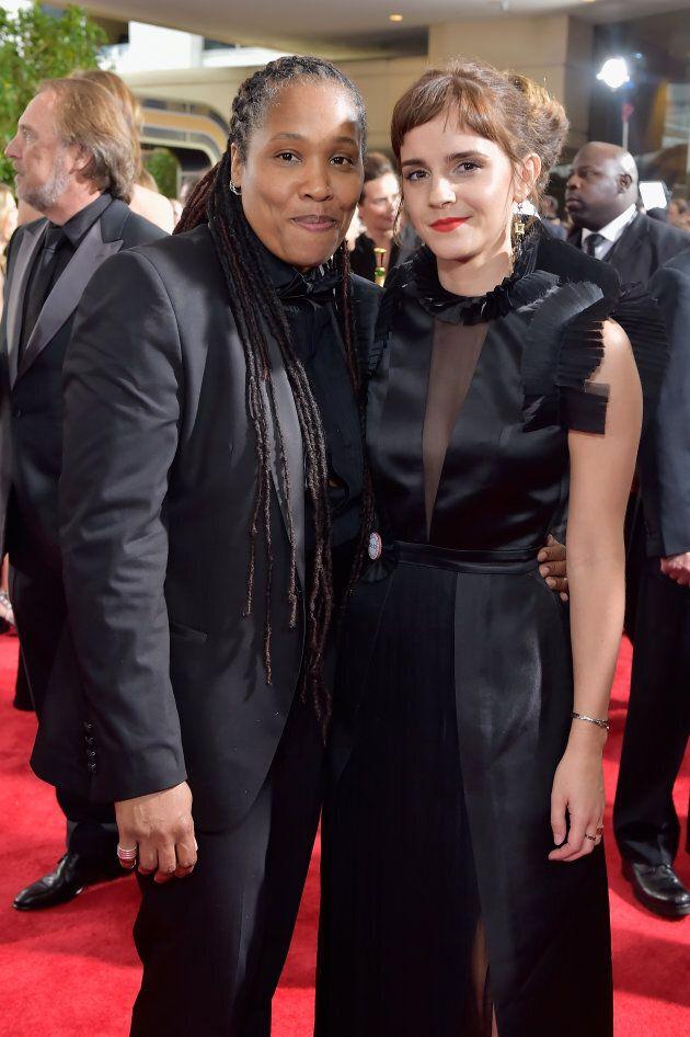 Activist Marai Larasi and Emma Watson attend The 75th Annual Golden Globe