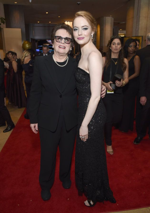 Former tennis player Billie Jean King and Emma Stone celebrate the 75th Annual Golden Globe