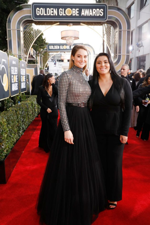 Shailene Woodley and activist Calina Lawrence at the 75th Annual Golden Globe