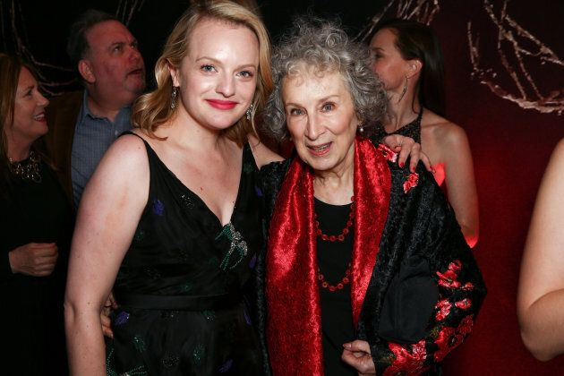Margaret Atwood and Elisabeth Moss attend the premiere of Hulu's 'The Handmaid's Tale' on April 25, 2017...