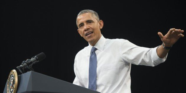 US President Barack Obama speaks during a town hall event at Benedict College in Columbia, South Carolina,...