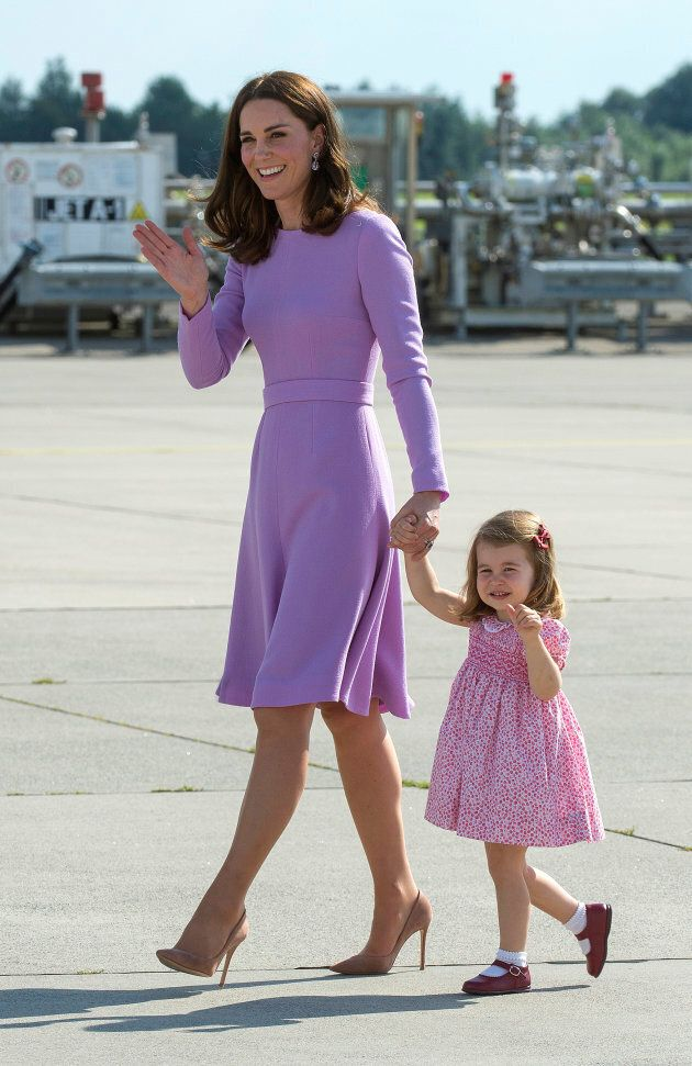 The Duchess of Cambridge and Princess Charlotte at Hamburg airport on the last day of their official...