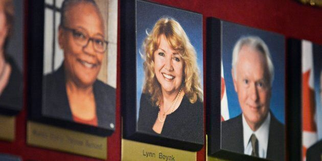 A picture of Sen. Lynn Beyak hangs in a hallway on Parliament Hill in Ottawa on Sept. 21,