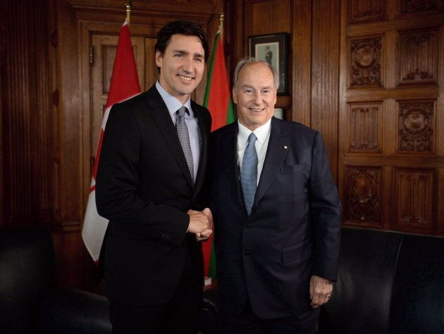 Prime Minister Justin Trudeau meets with the Aga Khan on Parliament Hill in Ottawa on May 17,
