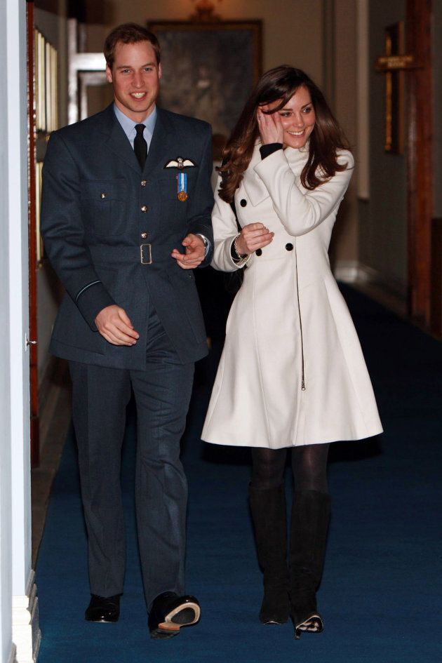Prince William and Kate Middleton after his graduation ceremony at RAF Cranwell on April 11, 2008 in Cranwell, England.