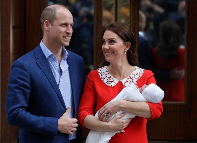 Prince William and Kate, Duchess of Cambridge pose for a photo with their newborn son Prince Louis as they leave the Lindo wing at St Mary's Hospital in London, Monday, April 23, 2018.