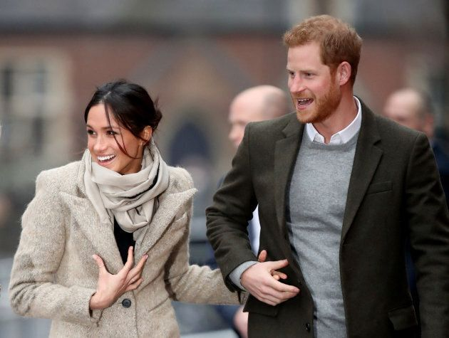 Prince Harry and Meghan Markle visit Reprezent 107.3FM on Jan. 9, in London.