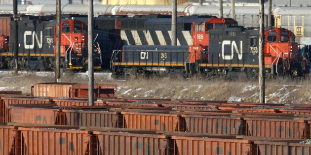 Rail cars sit in the CN MacMillan Yard in Toronto February 10,