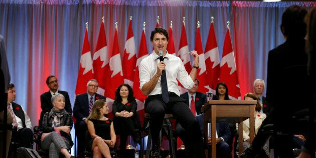 Prime Minister Justin Trudeau speaks during a town hall with high school students in Ottawa on Nov. 3,