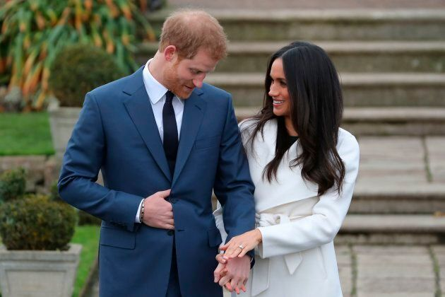 Prince Harry and Meghan Markle at Kensington Palace on Nov. 27, 2017, following the announcement of their