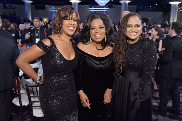 Gayle King, Oprah Winfrey, and director Ava DuVernay attend the 75th Annual Golden Globe Awards on Jan.