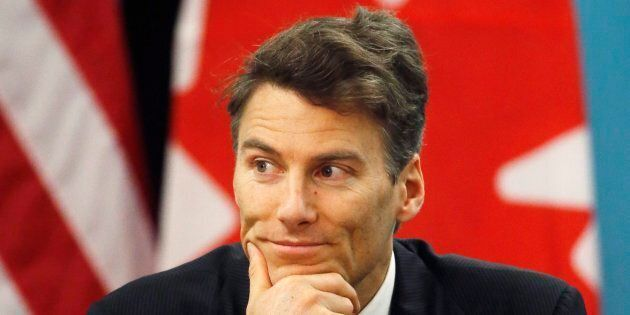 Gregor Robertson participates in a news conference during a summit on climate change involving mayors...