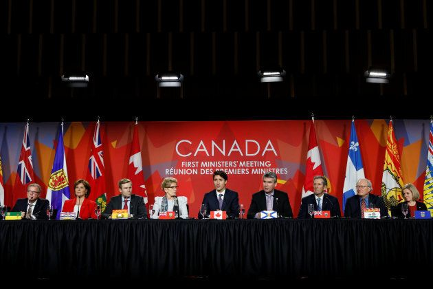 Prime Minister Justin Trudeauspeaks during the closing news conference at the First Ministers meeting...
