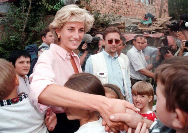 The late Diana, Princess of Wales meets children in an area of Sarajevo in