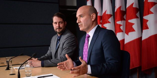 NDP MP's Nathan Cullen and Alexandre Boulerice hold a press conference at the National Press Theatre in Ottawa on May 11, 2016.