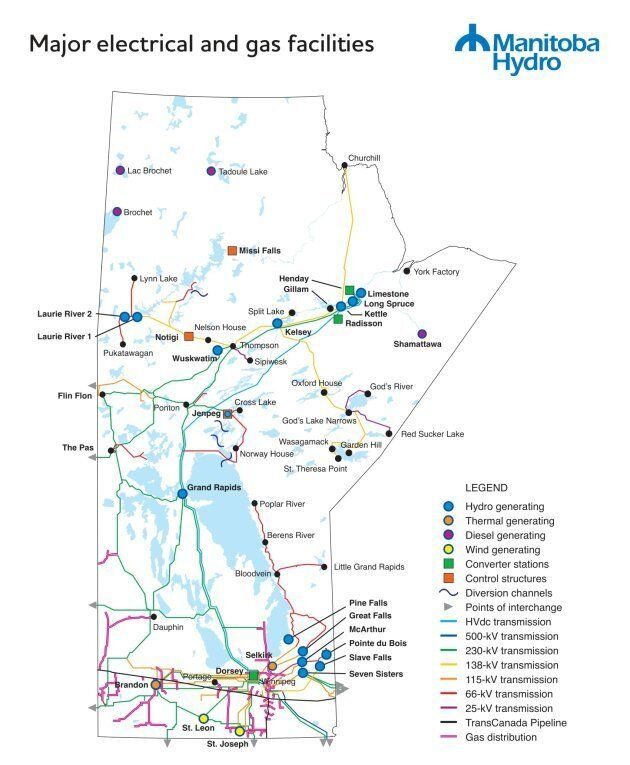 This map shows Manitoba Hydro's major operations. The utility says the Jenpeg dam, located where Nelson...