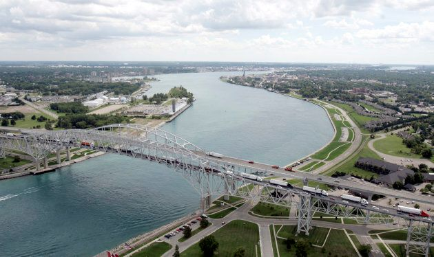 The Blue Water Bridge is seen joining the U.S., left, and Sarnia, Ont., right.