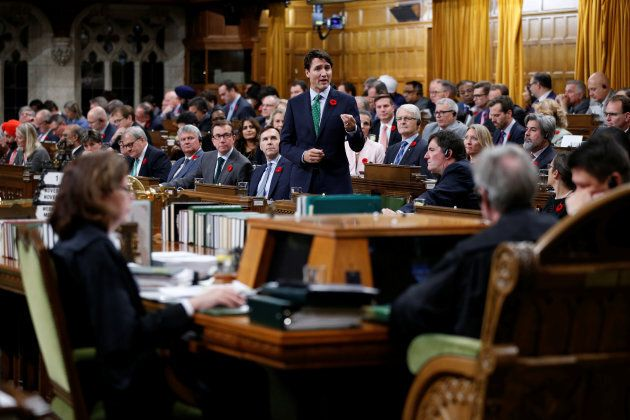 Canada's Prime Minister Justin Trudeau speaks during Question Period in the House of Commons on Parliament Hill in Ottawa, on Nov. 1, 2017.