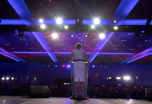 Kellie Leitch speaks during the opening night of the federal conservative leadership convention in Toronto on May 26, 2017.