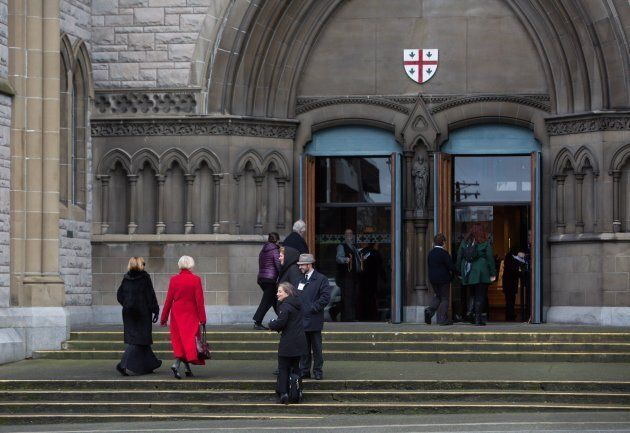 Friends and family arrive at the funeral of Chloe and Aubrey Berry at Christ Church Cathedral in Victoria,...