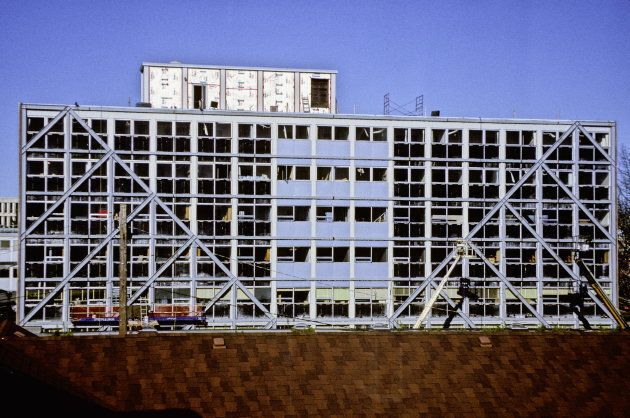 This building, on the University of British Columbia campus, has been fitted with X-braces to protect...