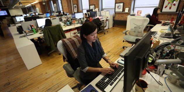 Lisa Yeung, HuffPost Canada's managing editor of lifestyle, works in the Toronto newsroom in March