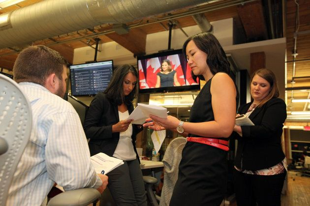 Editor-in-chief Andree Lau speaks to editorial staff after the NDP leadership debate hosted by HuffPost...