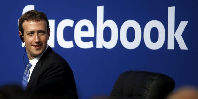Facebook CEO Mark Zuckerberg is seen on stage during a town hall at Facebook's headquarters in Menlo Park, Calif., Sept. 27, 2015.