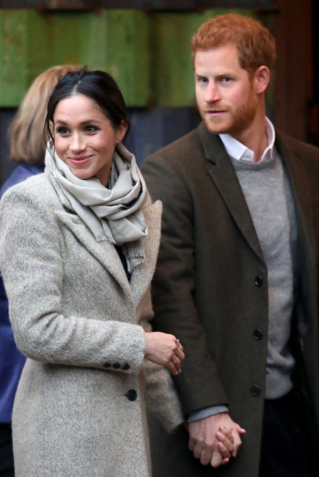Meghan Markle and Prince Harry visit Reprezent 107.3FM on Jan. 9, in London.