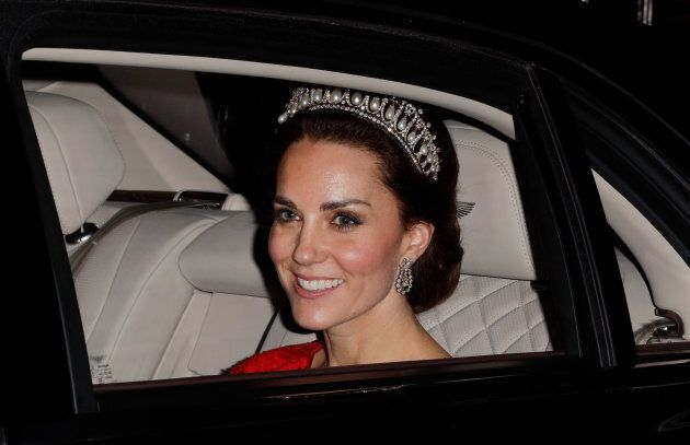 The Duchess of Cambridge departs after attending the annual Diplomatic Reception at Buckingham Palace on Dec. 8, 2016.