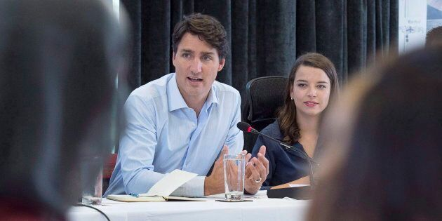 Prime Minister Justin Trudeau meets with members of the Prime Minister's Youth Council after the Liberal...