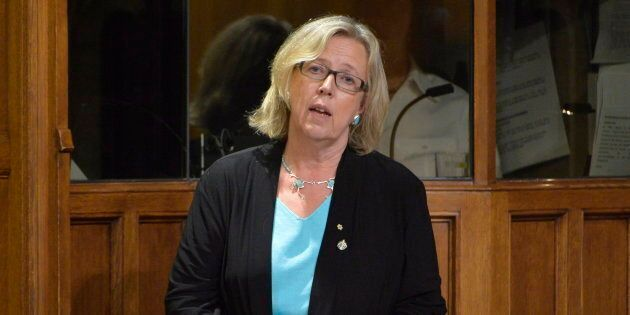 Green Party Leader Elizabeth May speaks in the House of Commons on Oct. 3, 2014 in Ottawa.