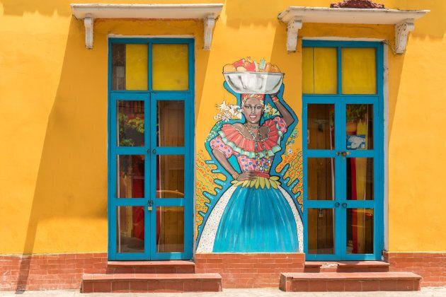 Street art graffiti in Cartagena, Colombia.
