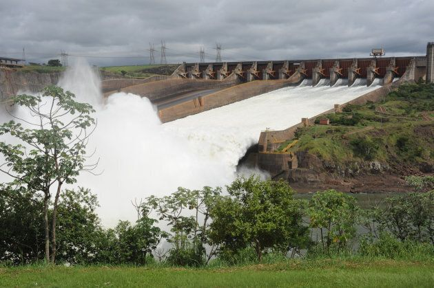 The hydroelectric power dam in Itaipu,