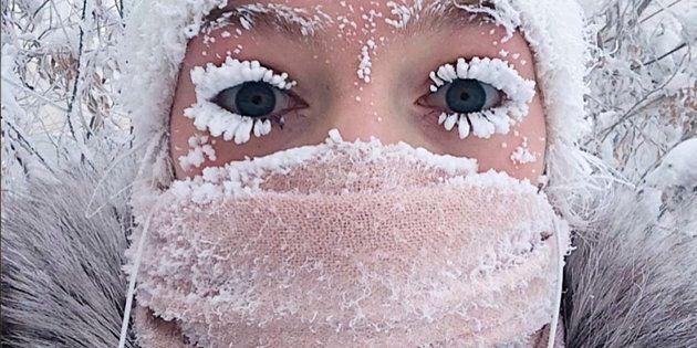 Anastasia Gruzdeva poses for selfie as the Temperature dropped to about -50 degrees (-58 degrees Fahrenheit)...