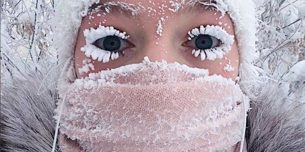 Anastasia Gruzdeva poses for selfie as the Temperature dropped to about -50 degrees (-58 degrees Fahrenheit) in Yakutsk, Russia.