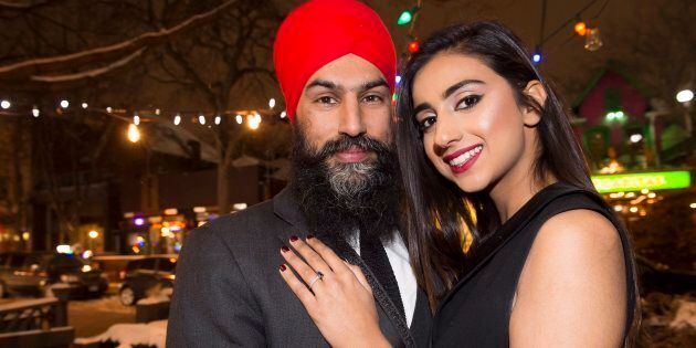 NDP Leader Jagmeet Singh poses with Gurkiran Kaur after proposing to her at an engagement party in Toronto...