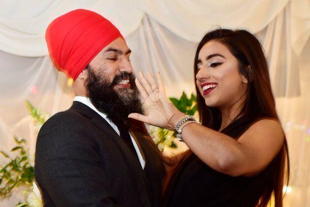NDP Leader Jagmeet Singh proposes to Gurkiran Kaur at an engagement party in Toronto on Jan. 16,
