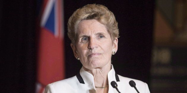 Ontario Premier Kathleen Wynne talks to media at the Confederation of Tomorrow 2.0 Conference in Toronto...