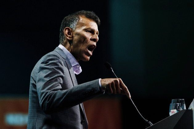 Canadian Labour Congress president Hassan Yussuff gives a speech during the 2016 NDP Federal Convention...