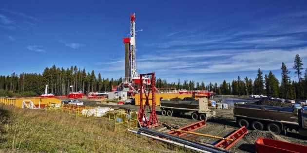Oil and gas fracking rig in
