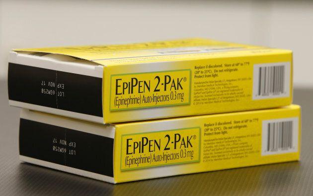 EpiPen 2-Paks sit on a table inside a pharmacy in Provo, Utah, U.S., on Aug. 31,