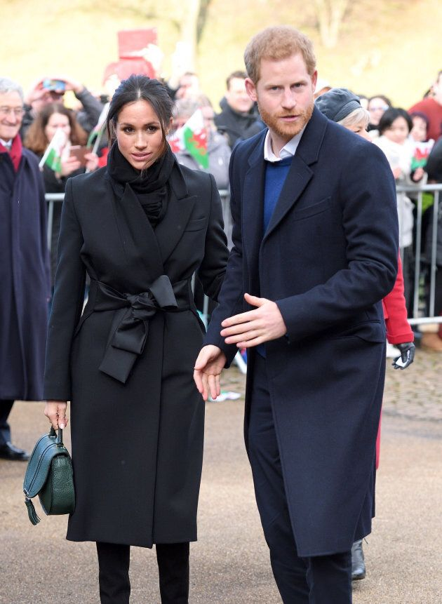 Prince Harry and Meghan Markle during a walkabout at Cardiff Castle on Jan. 18, in Cardiff,