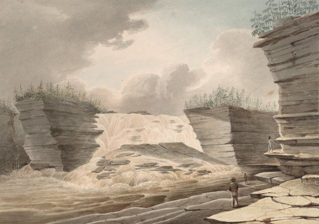 This watercolour by John Elliott Woolford depicts the land and waterscape of the Creator's First Sacred